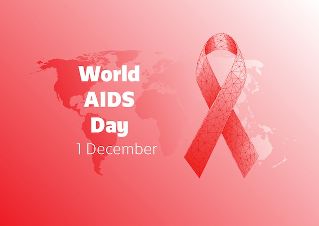 Welt-aids-tagesfahnenschablone mit rotem niedrigem polygonalem bandbogen und weltkarte auf rotem hintergrund