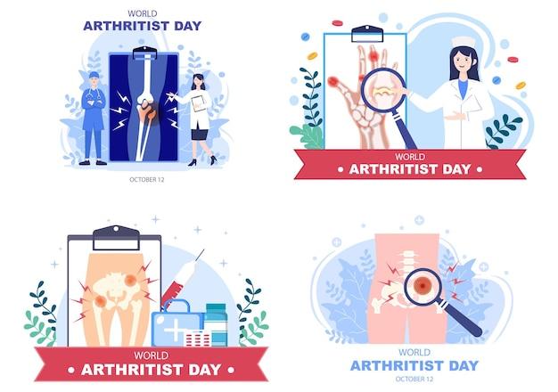 Welt-arthritis-tag-hintergrund-vektor-illustration medizinische behandlung von rheuma, osteoarthritis, röntgen-scan und knochengesundheit