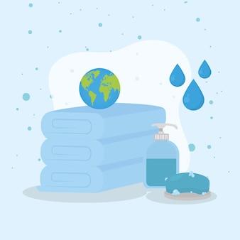 Welt auf handtüchern mit seifen