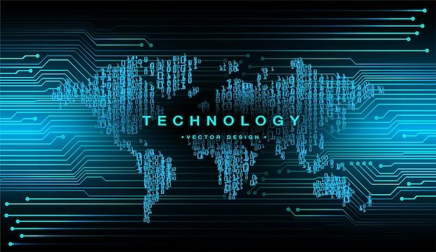 Welt binäre leiterplatte zukunftstechnologie blau hud cyber-sicherheitskonzept hintergrund
