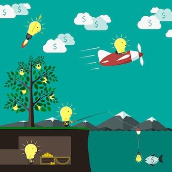 Welt der ideen. idee, kreativität, geld, fortschritt, investition, innovation und erfolgskonzept. eps 10-vektor-illustration, keine transparenz