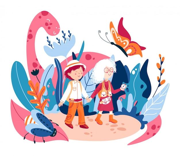 Welt der kindheit flache illustration. kinderphantasiewort, mit fiktiven niedlichen monstern. kinderzeichentrickfiguren, die in einer traumwelt spielen. abenteuer im wunderland. freundschaft.