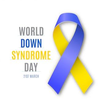 Welt-down-syndrom-tag. blau - gelbes bandzeichen isoliert