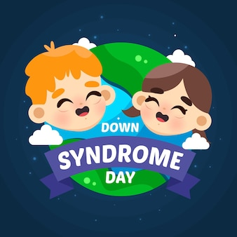 Welt down syndrom tag flache illustration