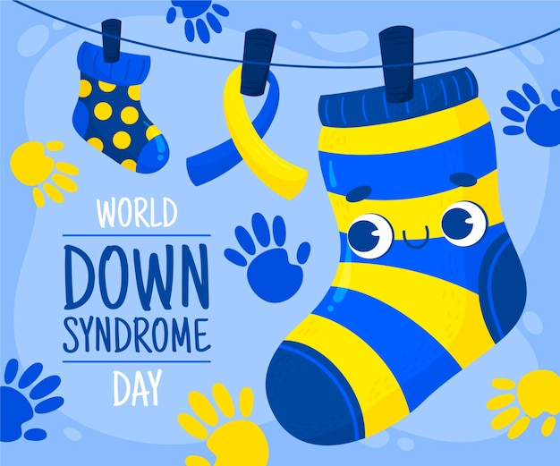 Welt-down-syndrom-tag hand gezeichnet