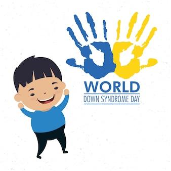 Welt-down-syndrom-tag mit handdruckfarbe und junge