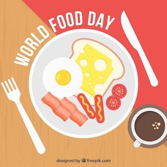 Welt essen tag hintergrund mit frühstück design