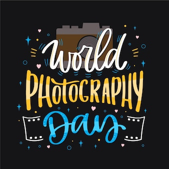 Welt fotografie tag schriftzug