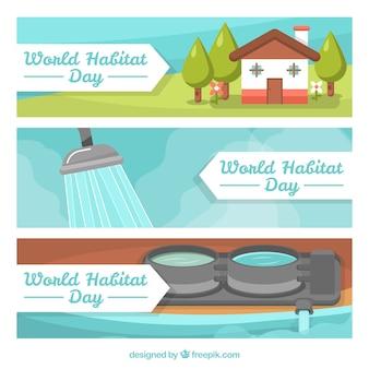 Welt-habitat-tag banner in flachen stil