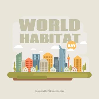 Welt-habitat-tag hintergrund der stadt in flaches design