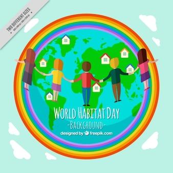 Welt-habitat-tag hintergrund der welt mit regenbogen