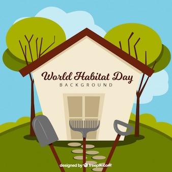 Welt-habitat-tag hintergrund des hauses auf dem gebiet