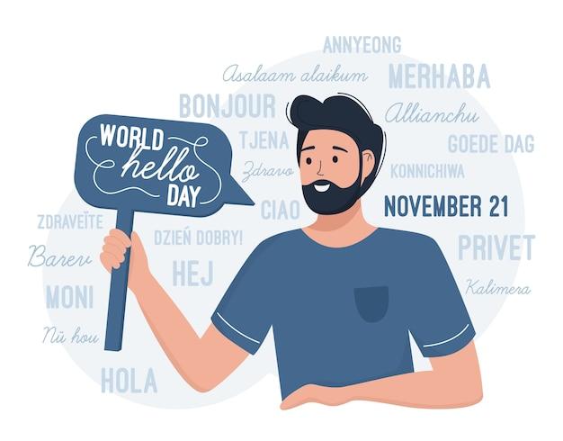 Welt hallo tag 21. november. ein mann gratuliert zum internationalen tag der grüße Premium Vektoren