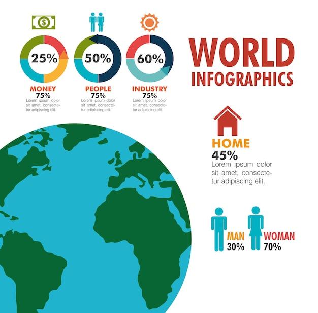 Welt-infografik flache ikonen