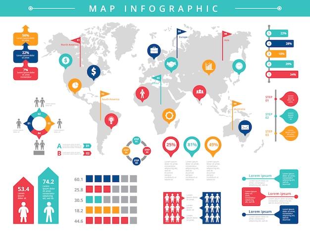 Welt infografik. infografikschablone der geschäftspräsentationsmenschenpopulationsvektor