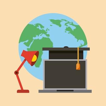 Welt laptop lampe und graduierung hut lernen