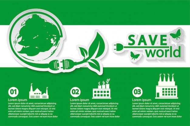 Welt mit umweltfreundlichen konzeptideen