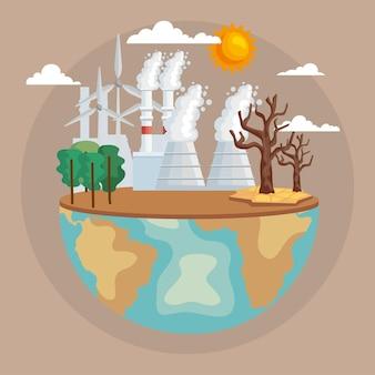Welt mit verschmutzung