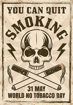 Welt ohne tabak tag vintage poster mit schädel und zwei gekreuzten zigaretten illustration