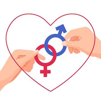 Welt-sexualgesundheitstag-vektorillustration paarhand, die verbundenes geschlechtsgeschlechtssymbol hält