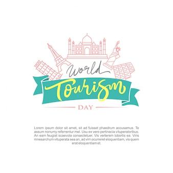 Welt-tourismus-tag-logo-vektor-illustration