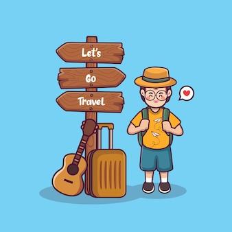 Welt-tourismus-tageshintergrund lets go reiseillustation niedlichen jungen-cartoon mit touristischem koffer