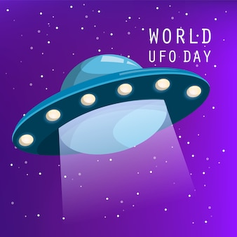 Welt-ufo-tag. raumschiff fliegt in den nachthimmel. alien invasion, unbekanntes schiff. wissenschaft und technik. raumfahrt.