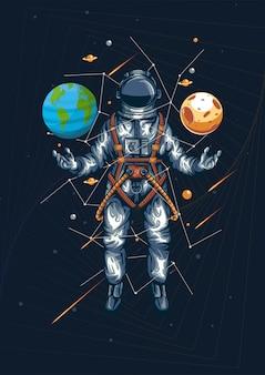 Welt und universum in ihrer handillustration