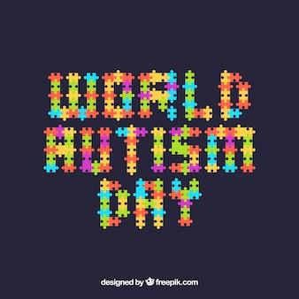 Weltautismus-tageshintergrund mit puzzlespiel bessert in der flachen art aus