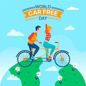 Weltautofreier tag mit fahrrad und globus