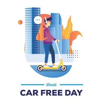 Weltautofreier tagesillustration mit einem mann fahren eine mono-kapsel in der stadtstraße