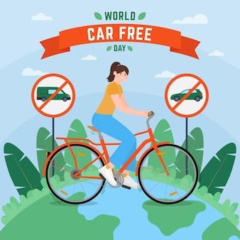 Weltautofreier tagesillustration mit frau auf fahrrad