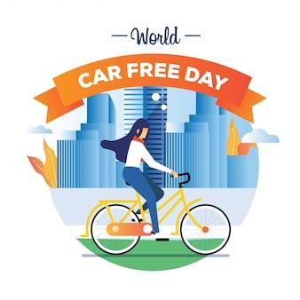 Weltautofreier taghintergrundillustrationskonzept mit mädchen fahren ein fahrrad in der stadt