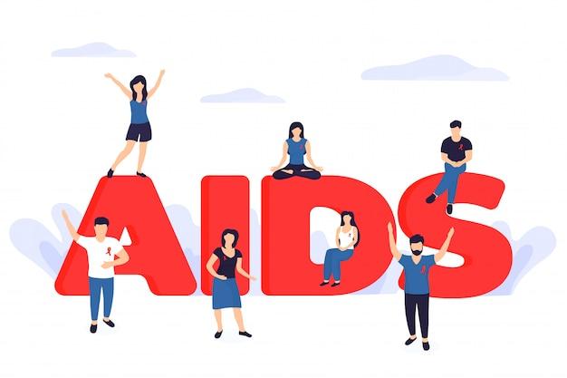 Weltbanner für den tag der sexuellen gesundheit. kleine leute mit roten bändern in der nähe der riesigen inschrift aids