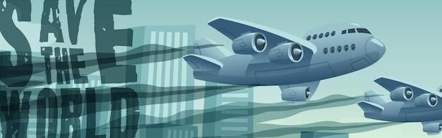 Weltbanner mit fliegenden flugzeugen retten