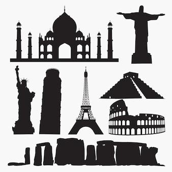 Weltberühmte orte silhouetten