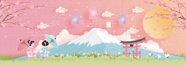 Weltberühmte wahrzeichen japans mit dem fuji-berg
