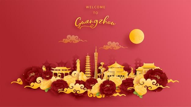 Weltberühmtes wahrzeichen von guangzhou, china in gold und rotem hintergrund. papierschnitt.