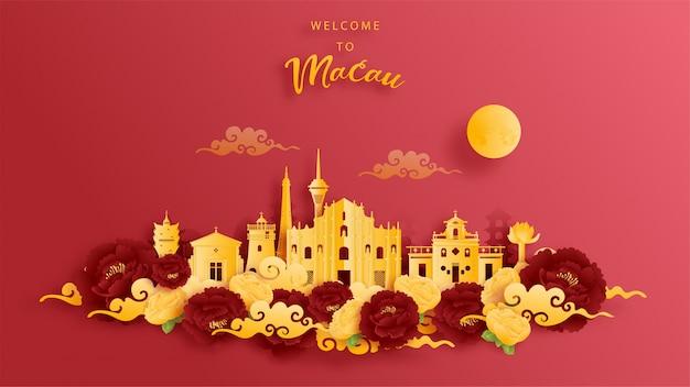 Weltberühmtes wahrzeichen von macau, china in gold und rotem hintergrund. papierschnitt.