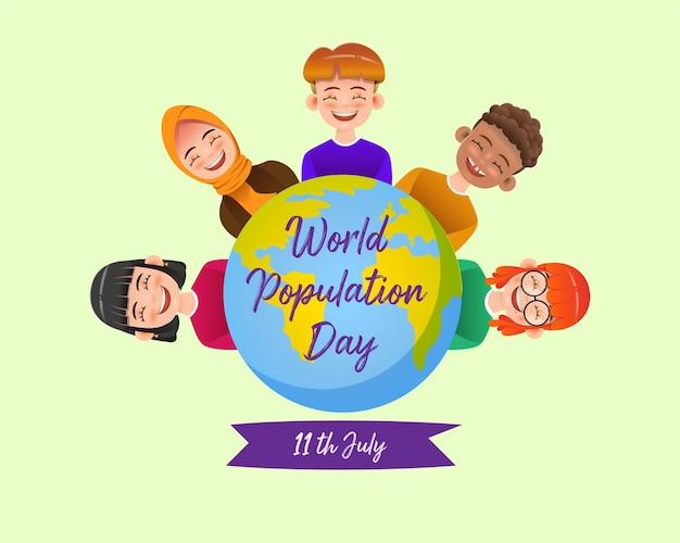 Weltbevölkerungstag im realistischen stil Premium Vektoren