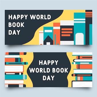 Weltbuchtag mit verschiedenen vortragsbannern