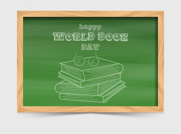 Weltbuchtagskonzept mit tafel und stapel büchern