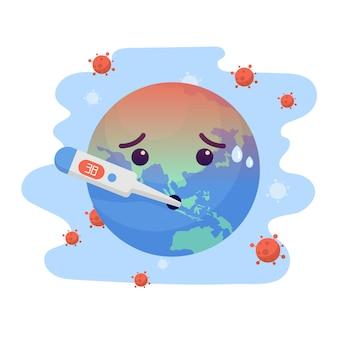 Weltcharakter symptom husten, ergebnisse ist hohe temperatur, weil coronavirus. weltkonzept für corona-viren und covid-19-ausbrüche und pandemie-angriffe.
