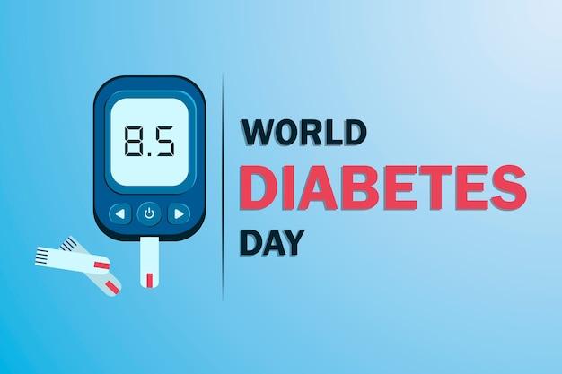 Weltdiabetestag bewusstsein. weltdiabetestagsbanner mit elektronischem glukometer, das glukosespiegel anzeigt.