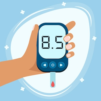 Weltdiabetestag bewusstsein. weltdiabetestagsbanner mit elektronischem glukometer und gestochenem finger bereit, kontrolle über glukosespiegel zu übernehmen.