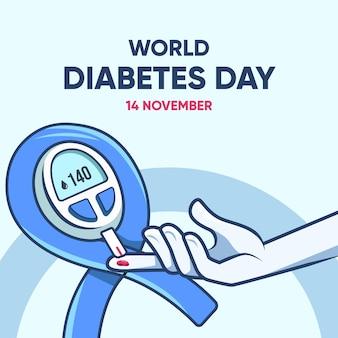 Weltdiabetestag des flachen designs