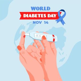 Weltdiabetestag des flachen entwurfs dargestellt
