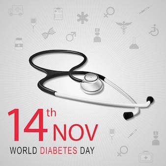 Weltdiabetestagesbewusstsein mit stethoskop