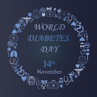 Weltdiabetestageshintergrund mit runder medizinikone