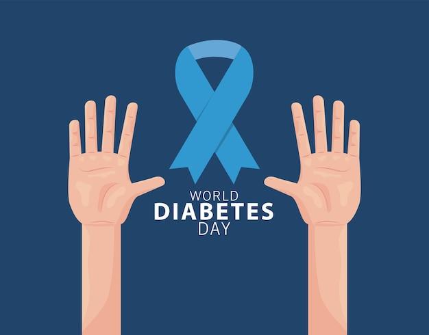 Weltdiabetestagkampagne mit händen und blauem bandillustrationsdesign